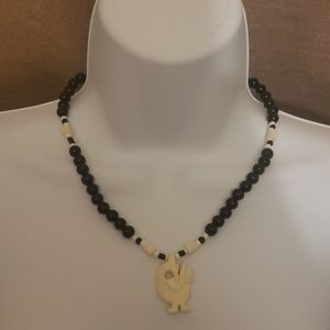 Jewelry - Swan Beaded Black and Cream Necklace